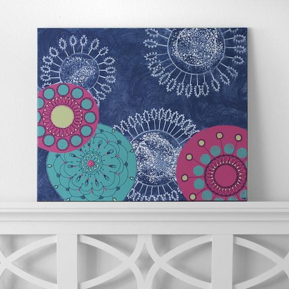 teen girl wall art modern flower canvas art original acrylic blue