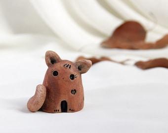 Little  Rustic caramel terracotta spring romantic Cat - Hand Made Ceramic Eco-Friendly Home Decor by studio Vishnya