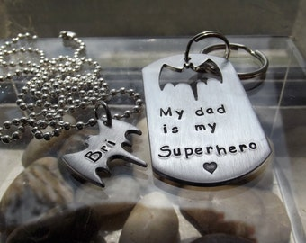 Hero bat set, Hero Dad keychain for him and pendant for little girl