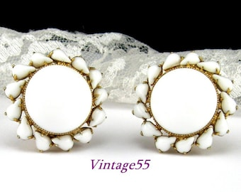 Earrings Milk Glass Clip on Gold tone