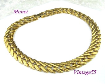 Monet Collar Necklace Gold tone Satin Matte