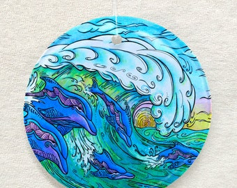 Christmas Ornament and Sun Catcher, Wave Riding, Dolphin, Surf Art