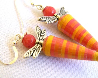 Paper Bead Jewelry - Dragonfly Earrings Dragonflies - #170