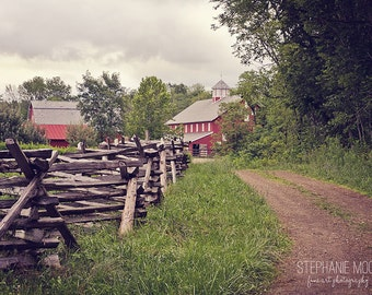 Farm Photography, Rural Photography, Picture of a Red Barn, Pretty country Landscape picture, Split Rail Fence and Road leading to Red Barn