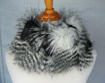 Faux Fur NECKWARMER Scarf, Black Feathered Faux Fur Neckpiece, Fur Collar, Women's Circular Cowl