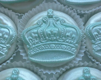 1 Doz PRINCE CROWN Chocolate Covered Oreos -Light Pearl Finish Baptism Birthday Baby Boy