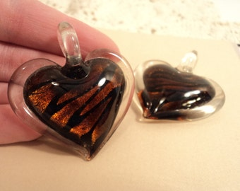 SALE - Glass Heart Pendant - Brown with Black Swirls - #PND912
