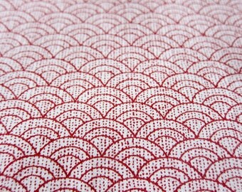 FREE SHIPPING Japanese Cotton Fabric - Gentle Waves Fabric in Red (F031) - Fat Quarter