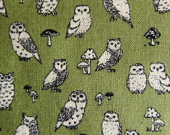 Animal Print Fabric By The Yard - Cotton Linen Blend - Owl Power on Green - Half Yard