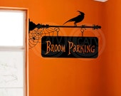 Halloween Witch Broom Parking vinyl lettering wall decal sticker crow spider decor