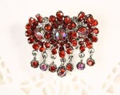 Red Rhinestone Flower Pin - Blossom Cluster w/ Dangling Gems - New/Old Stock Vintage Brooch