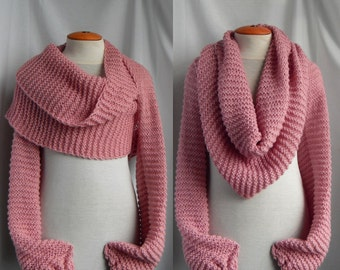Sale 20% off Scarf shawl with sleeves at both ends in dusty rose. FREE WORLDWIDE SHIPPING