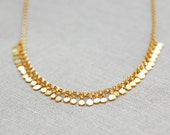 Tiny Sequin Necklace in Gold - Delicate and Minimal