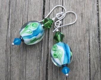Light Blue and Emerald Green Lampwork Earrings.