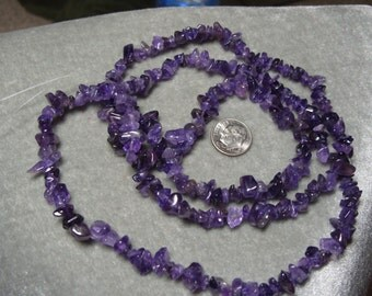 Strand of Medium Natural Grade A  Amethyst Chips  Gemstones (343)