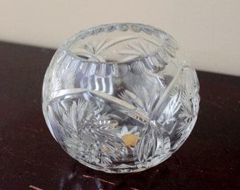 Vintage Crystal Lead Rose Bowl Vase Clear Diamond Star Design Made in Poland