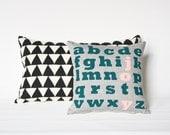 "JOY - alphabet screen printed organic pillow, 12""x12"""