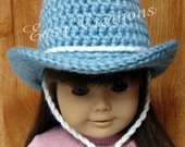 18in Doll PDF CROCHET PATTERN Doll Cowboy Hat, Cowgirl Hat Designed to fit 18in Dolls, Doll Clothes Digital Download