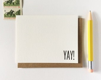 Congratulations and Thank You All Purpose Any Occasion FLAT Celebration YAY Cards Letterpress