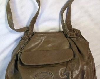 Genuine Leather 1990s Shoulder Bag Handbag  Light Brown Leather with lots of Room Practical Outside Pocket