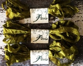 Seam Binding - Hand Dyed - Ribbon - Crafting Supplies - GORGEOUS GREEN - Crinkled - French Market - xo (SBHD)