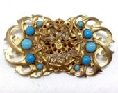 Vintage Victorian Style Brooch / Pin - Ornate Goldtone Metal with Turquoise Blue Glass Embellishments - Recycled Belt Buckle