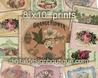 "12 Vintage Victorian Digital Graphics Floral Papers 8""x10""  Roses French Cottage Chic Commercial Use Digi Scrapbooking Cardmaking Printables"
