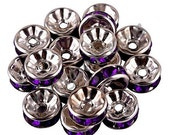 Vintage 10 Purple Silver Plated Crystal Spacer Finding Bead 8mm GR8