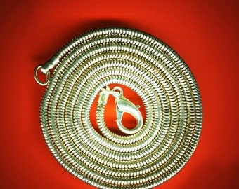 Vintage Lot of 5 Silver Plated Snake Chain 29 Inch Long Necklaces with Lobster Claw Clasps AL3