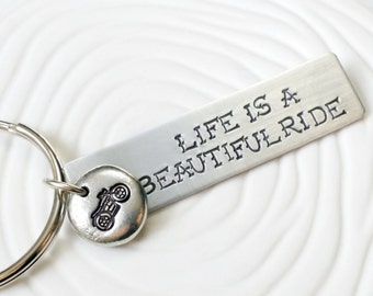 Personalized, Hand Stamped Motorcycle Key Chain - Life is a Beautiful Ride Key Ring - Customizable Keychain - Motorcycle Keychain