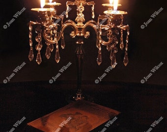 Poetry by Candlelight Crystal and Silver Candelabra Candle Fine Art Photography Original Print