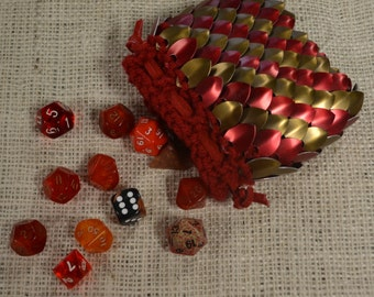 Dragon Scale Dice Bag Bronze and Red Stripe in Knitted Dragonhide Armor