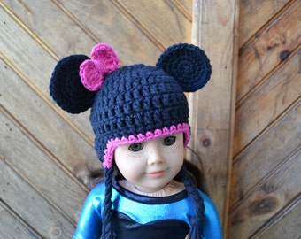18 inch Doll Clothes - Crocheted Beanie with Ear Flaps - Girly Mouse - MADE TO ORDER - fits American Girl