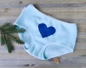 Cashmere panties light blue with blue heart - cashmere underwear lingerie hi rise boyshorts - made to measure - econica