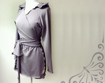Hooded wrap top, organic cotton tunic top, organic wrap shirt, handmade clothes, organic hoodie sweatshirt