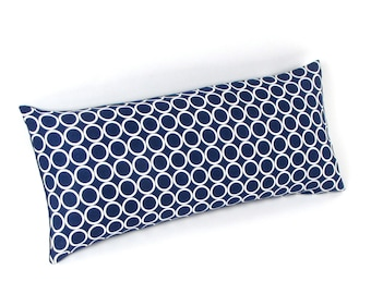 "Navy Blue and White Circles Pillow 8"" x 17"""