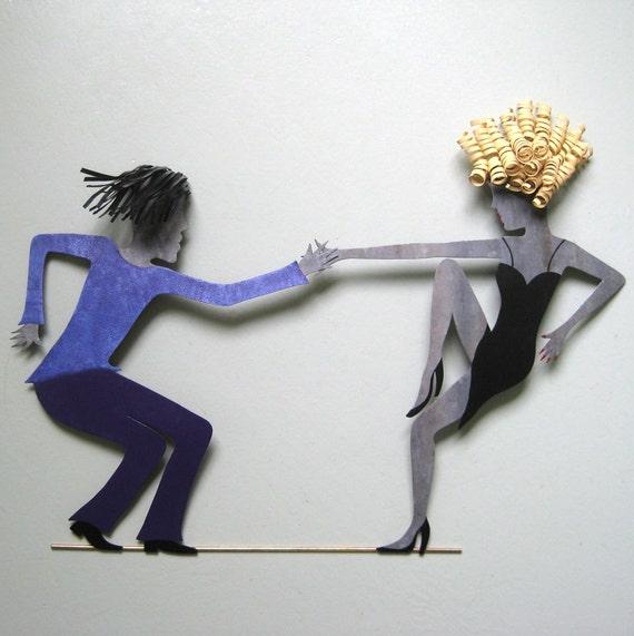 Dance Art Sexy Dancers Recycled Metal Wall Art Sculpture Dancing Couple Jazz Dance Wall Decor Bright Purple Blonde Dancer Wall Art Sexy Art