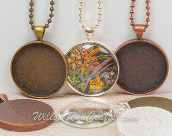 100 DIY Pendant Necklace Kits, 30mm Circle Pendant Trays with Glass and Chain, Pick your choice of chain and colors