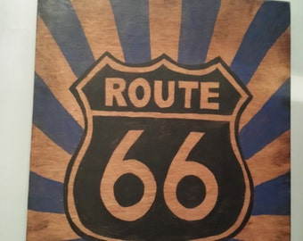 Route 66 Hand Painted wood sign