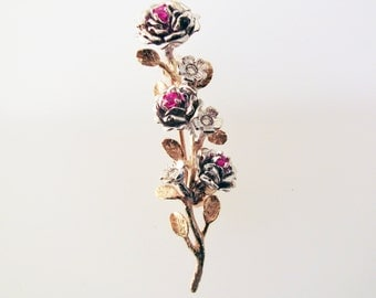 Ruby Rose and Golden Stalk Brooch - made with recycled 18K gold