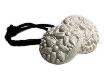 Summer White Flower Ponytail Holder Elastic Hair Tie - Vintage Buttons Hair Accessory