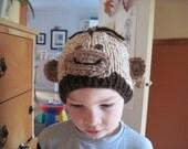 Little Monkey hat - hand knit - newborn to adult size - photo shoot prop - gift idea - boy girl teen adult sizes