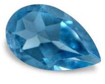 one 8x5mm Pear cut  Faceted ~ Genuine ~ London Blue Topaz ~ with certificate of authenticity ~  FDK