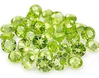 4mm Round Faceted  ~ Genuine Natural Peridots ~ item # 53 ~  Video to watch of this stone~ FDK