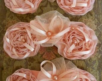 Pale Peach Pearl Rosettes