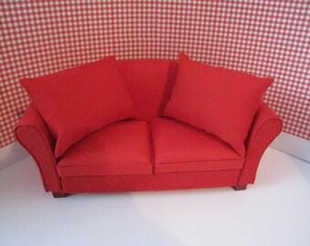 Dollhouse Sofa SALE, Red Sofa, hand made  sofa, country sofa  , twelfth scale, dollhouse miniature