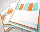 Multi-pack Birthday cards,  teal and orange 3-pack birthday cards, gender neutral birthday cards, multiple birthday card pack