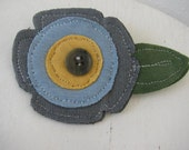 Fabric Flower Pin, Appliqued Flower Pin, Flower Broach, Sizzix Die Cut Flower, Grey Blue Flower Pin, Recyled Jewelry