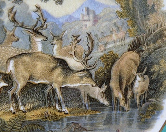 decorative antique plate with deer