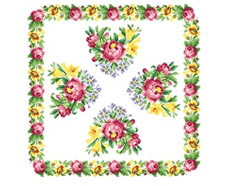 Sweet blooms cushion. Cross stitch pattern PDF. Instant download.